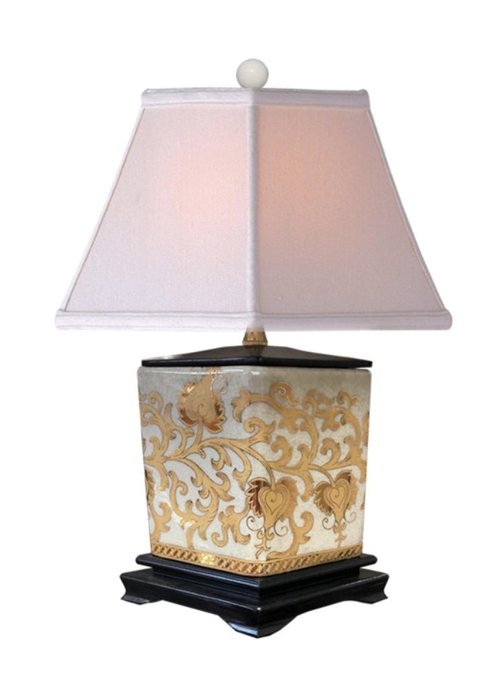 Lamp Shade Solution Porcelain Gold Tapestries Diamond Mini Table Lamp + FREE FINIAL