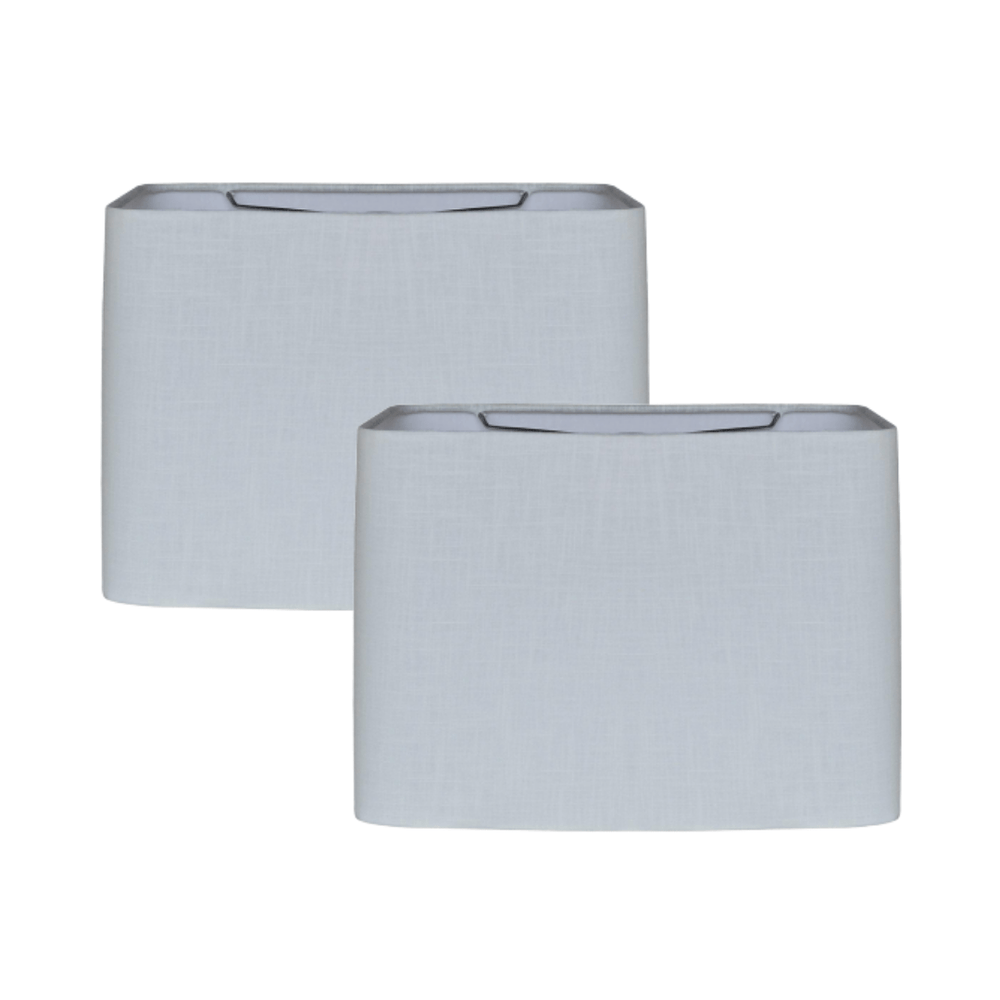 Lamp Shade Solution Set of 2 White Flax Linen Retro Rectangle Hardback Lamp Shade