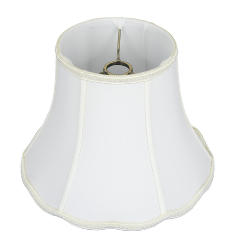 "lamp shade 5 x 10 x 8"" (Resc'd: 1.5"") / Shantung / Beige Uno Bell Scallop Bottom Lamp Shade"
