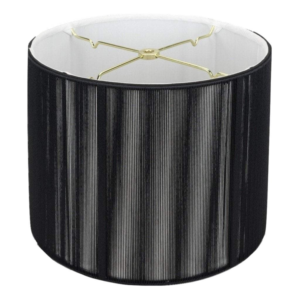 Black Silk String Shallow Drum Lamp Shade