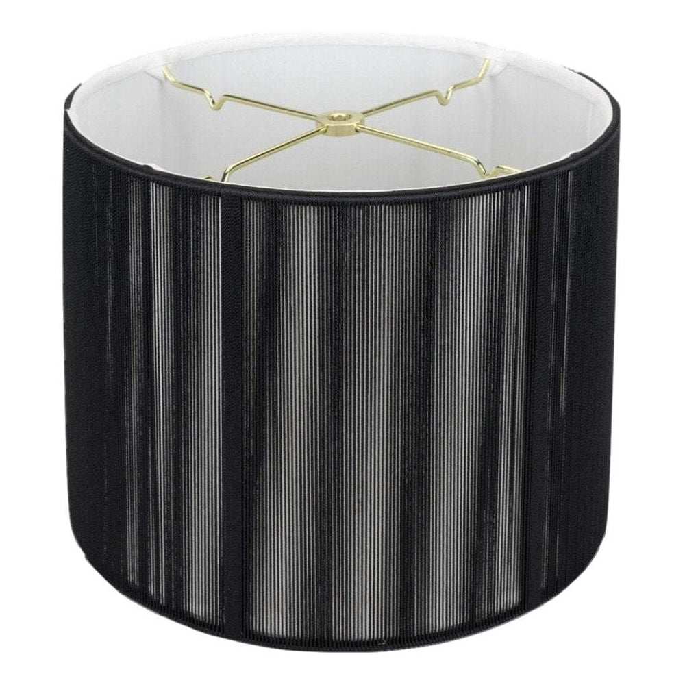 "lamp shade 11 x 12 x 9"" / Silk String / Black Black Silk String Shallow Drum Lamp Shade"