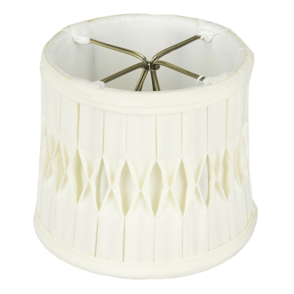 "lamp shade 3.5 x 4 x 4""  (Candle Clip) / Shantung / Eggshell Drum Chandelier Box with Smocked Pleated Shantung Lamp Shade"