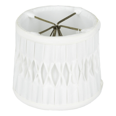 "lamp shade 3.5 x 4 x 4""  (Candle Clip) / Shantung / White Drum Chandelier Box with Smocked Pleated Shantung Lamp Shade"