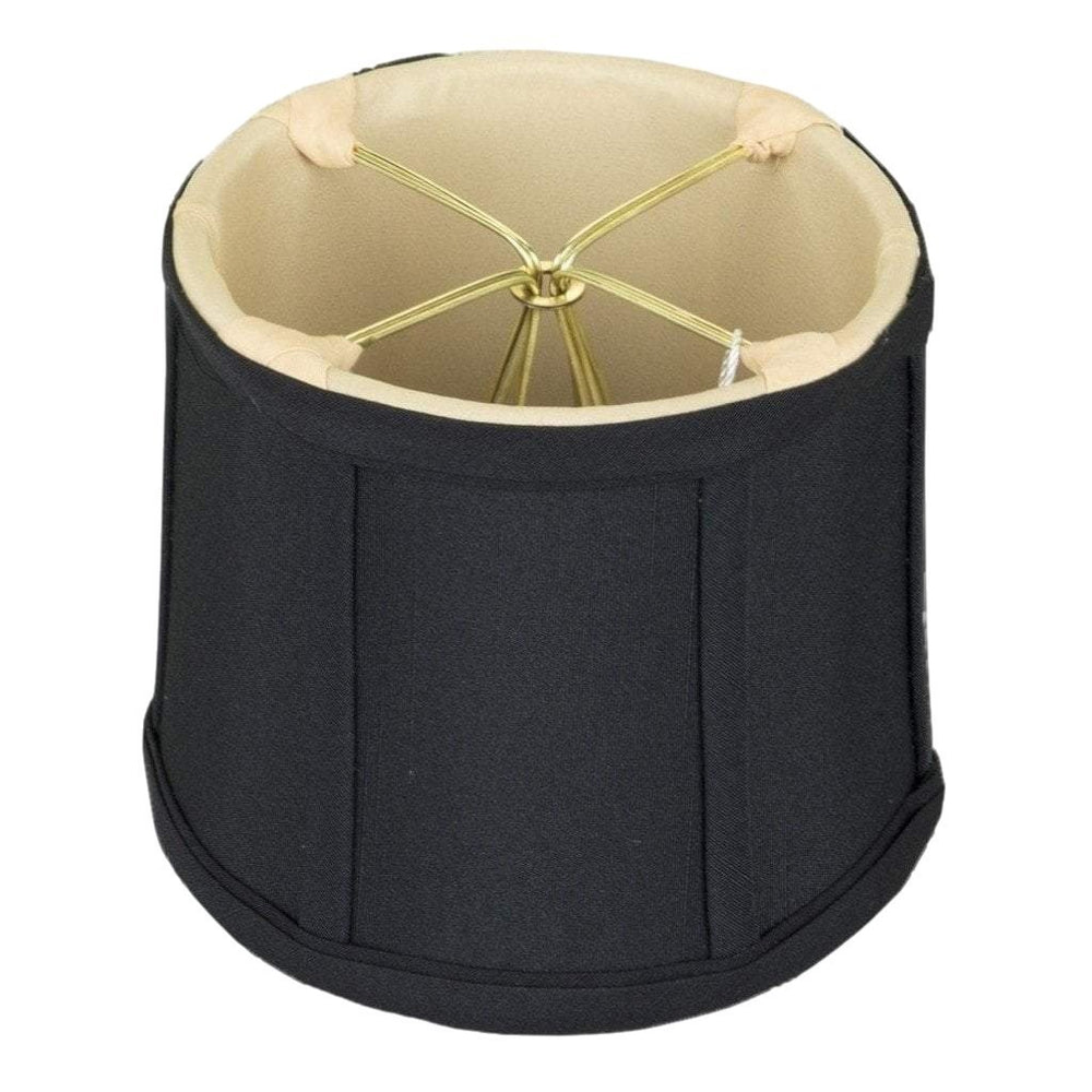 "lamp shade 3.5 x 4 x 4""   (Cross Clip) / Shantung / Black With Gold Lining Black Drum Gold Lining Chandelier Clip-on Lamp Shade"