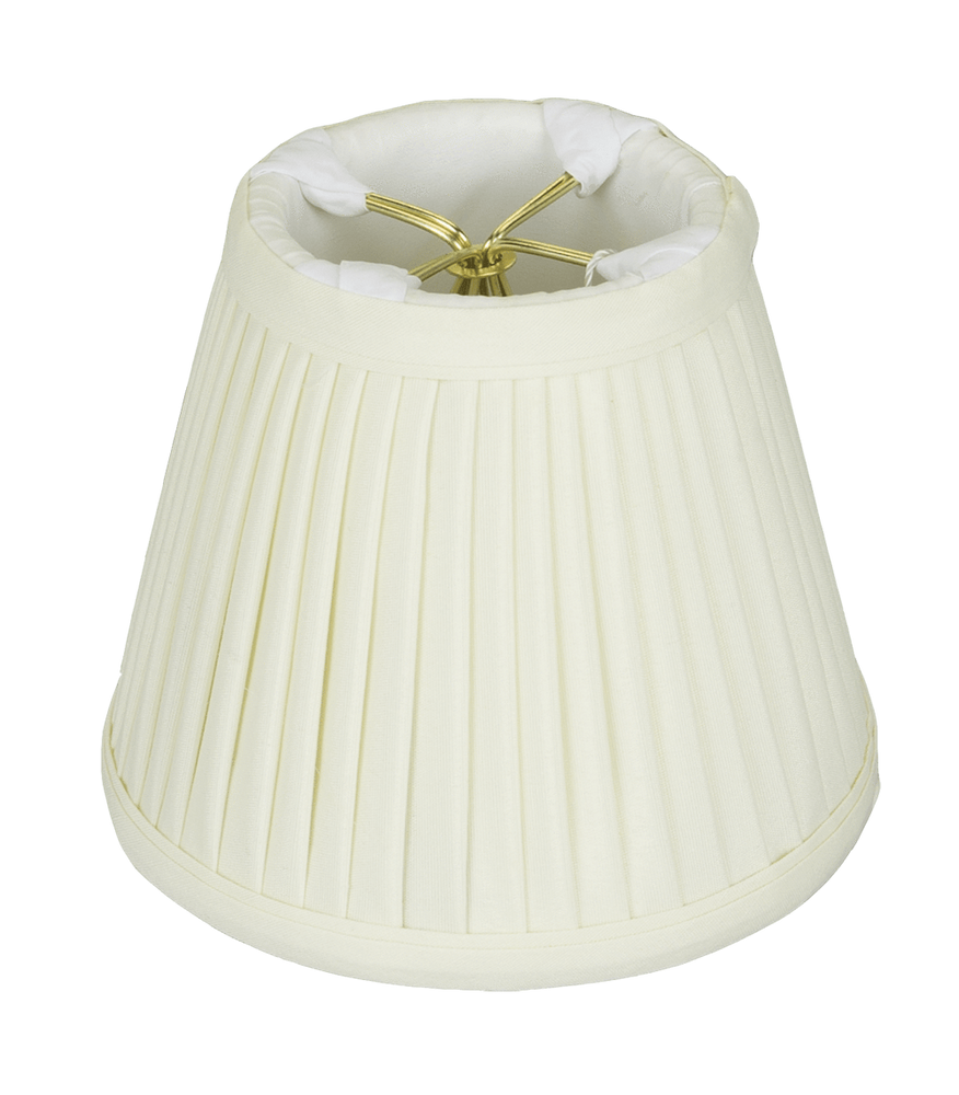 "lamp shade 3 x 5 x 4.25"" (Clips) / Shantung / Eggshell Empire Chandelier Side Pleated Lamp Shade"