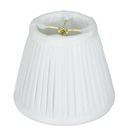 "lamp shade 3 x 5 x 4.25"" (Clips) / Shantung / White Empire Chandelier Side Pleated Lamp Shade"