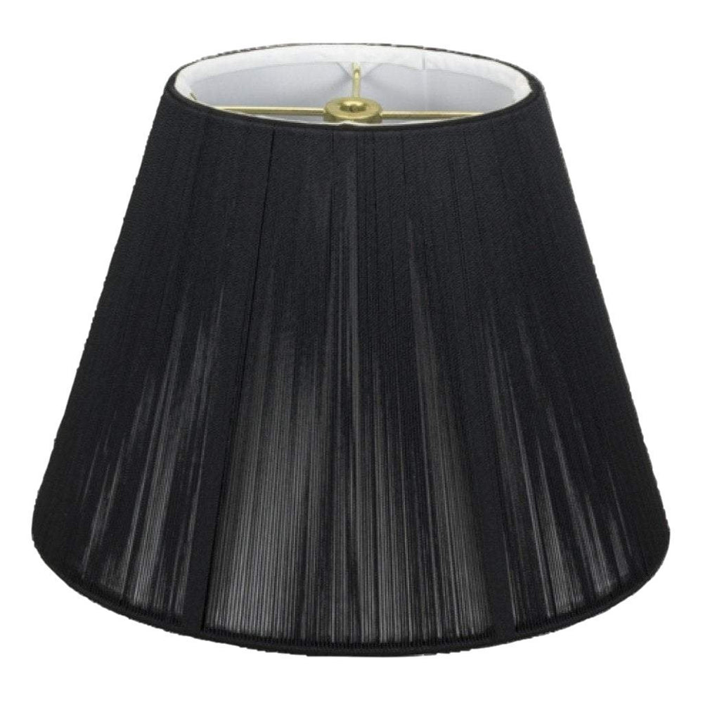 lamp shade (4.25 x 6.25) x (8.5 x 12) x 9.5'' / Silk String / Black Black Oval with Hand Sewn Silk String Lamp Shade