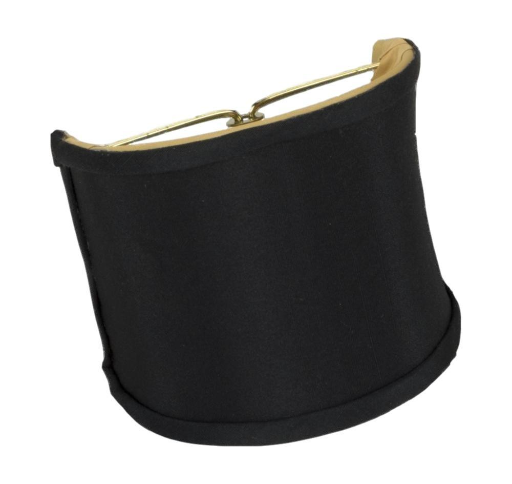 Monter Lite lamp shade 4 x 4 x 4.25'' (Candle Clip) / Shantung / Black Gold Lining Black Shell Wall Sconce Gold Lining Lampshade