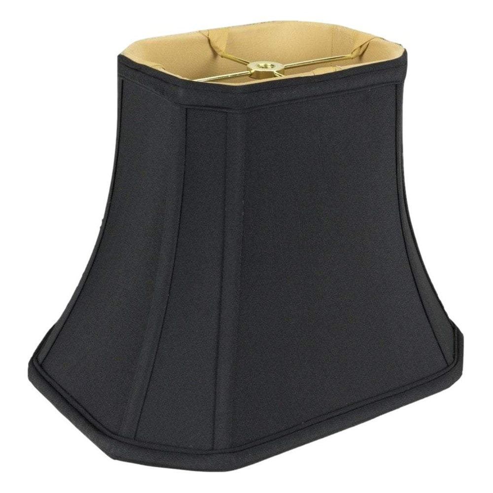 "Lamp shade (4 x 5) x (6 x 8) x 6.5"" / Shantung / Black Gold Lining Black Cut Corner Rectangle Gold Lining Lamp Shade"