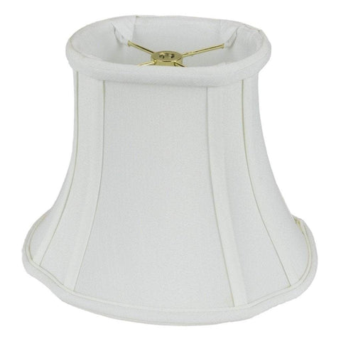 "lamp shade (4x5) x (6x8) x 6.5"" / Shantung / White Shantung French Oval with Piping Lamp Shade"