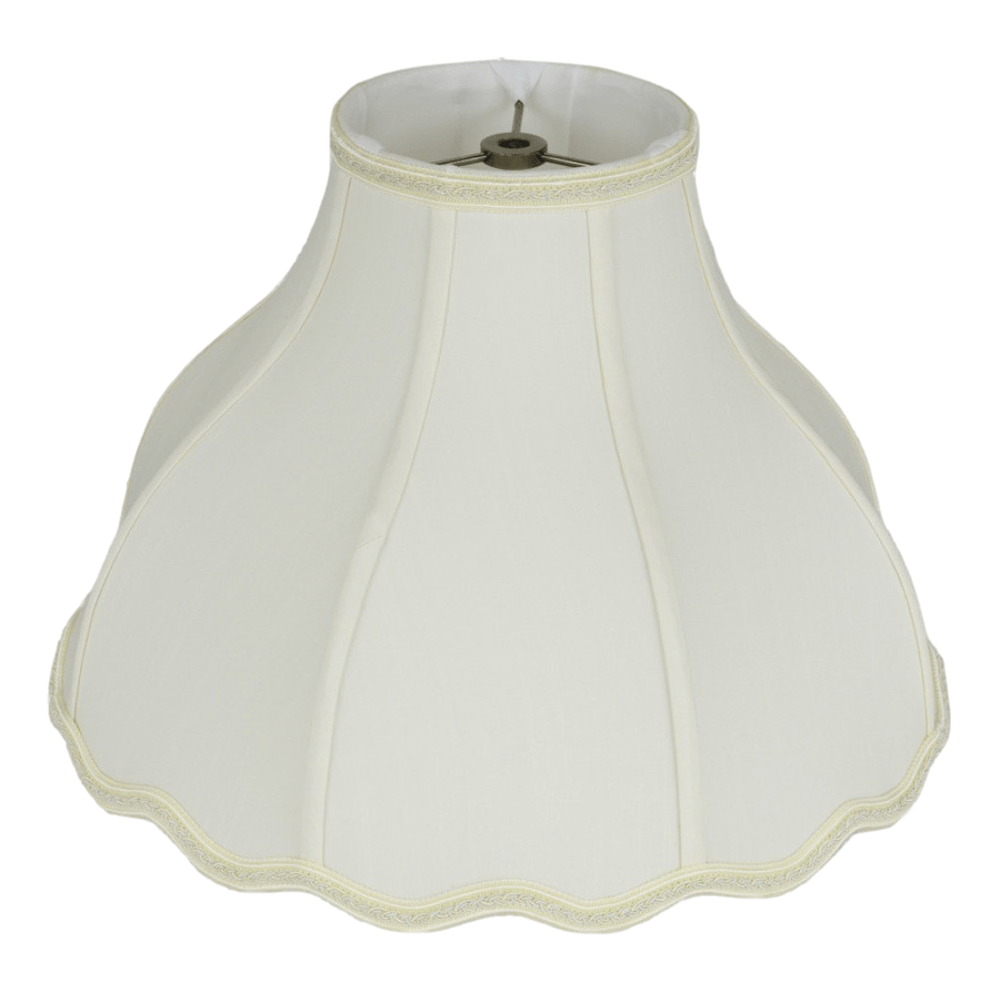"lamp shade 6 x 16 x 12"" / Shantung / Eggshell Victorian Bell Scallop Bottom Braided Trim Lamp Shade"