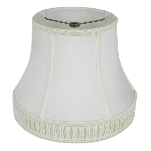 "lamp shade 7.5 x 12 x 10"" / Shantung / White Bell with Smocked Pleated Cuff Lamp Shade"