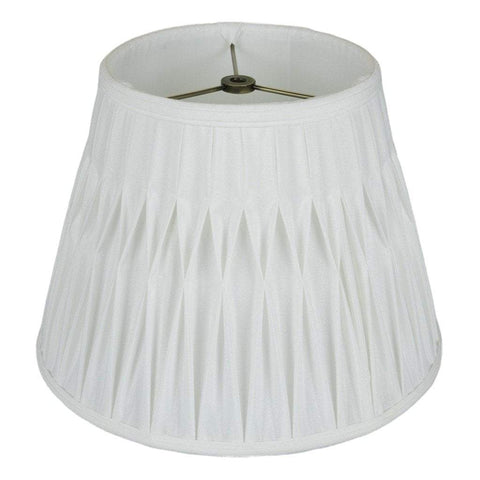 lamp shade 7.5 x 12 x 9'' / Shantung / White Empire Smocked Pleated Lamp Shade