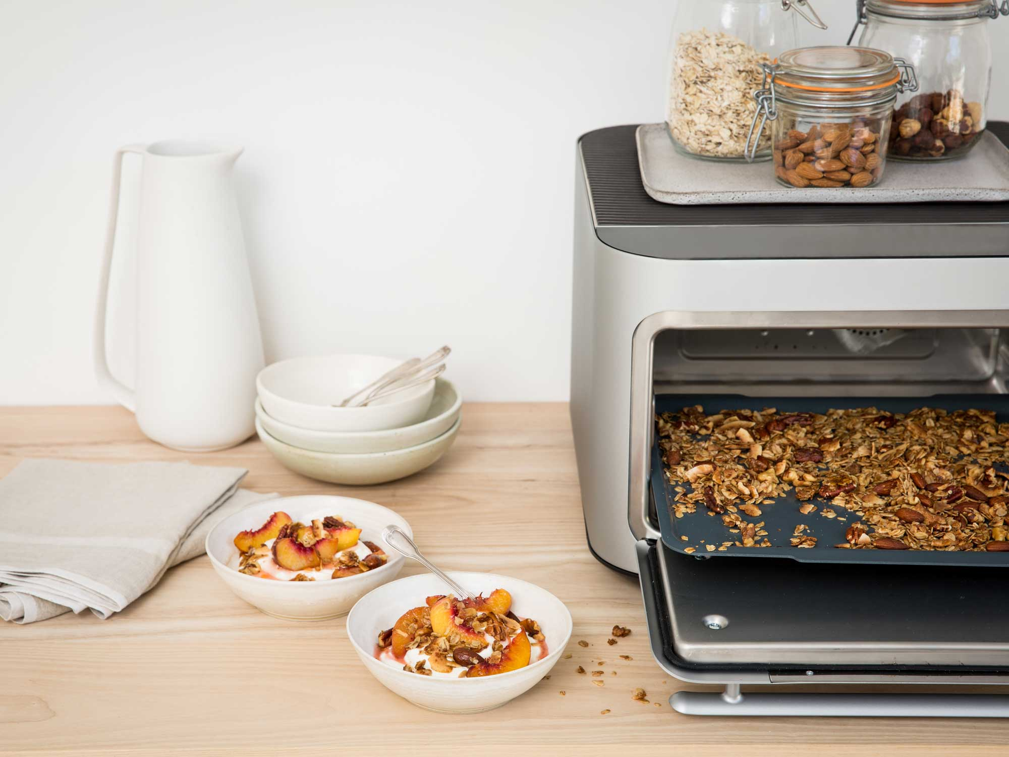 Brava oven with toasted grains inside