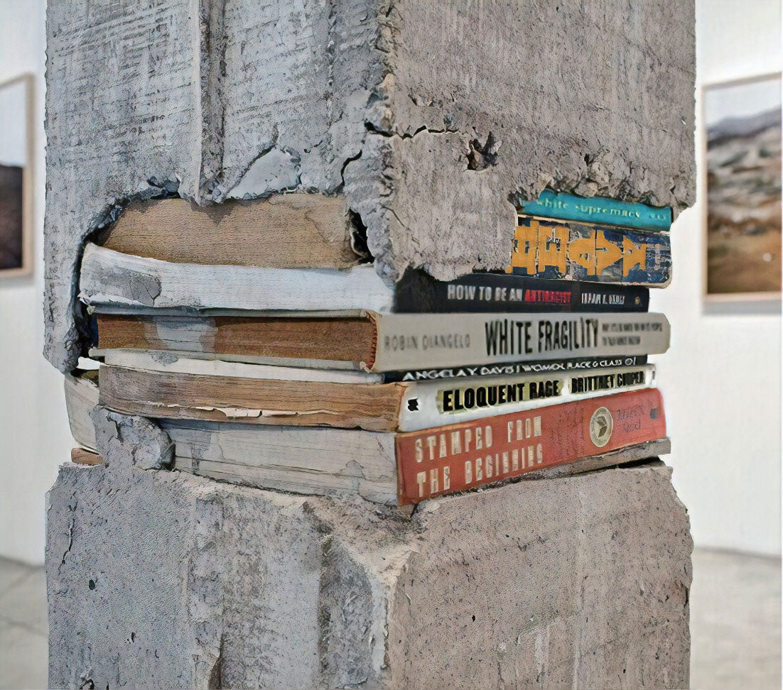 Column with books in the middle