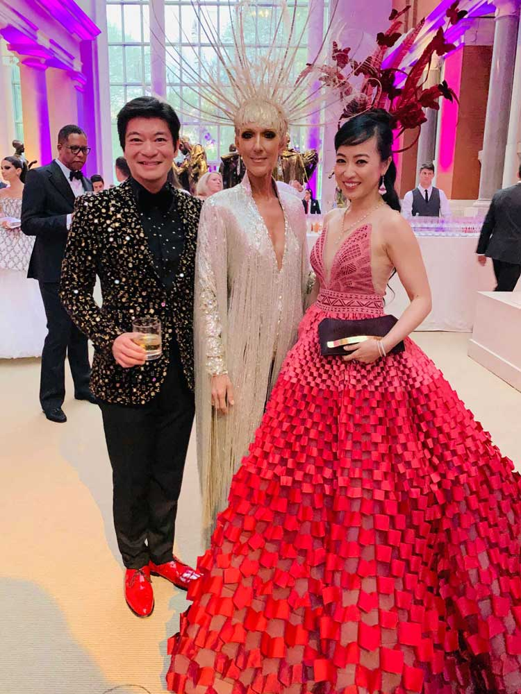 Coral and husband posing with singer, Celine Dion