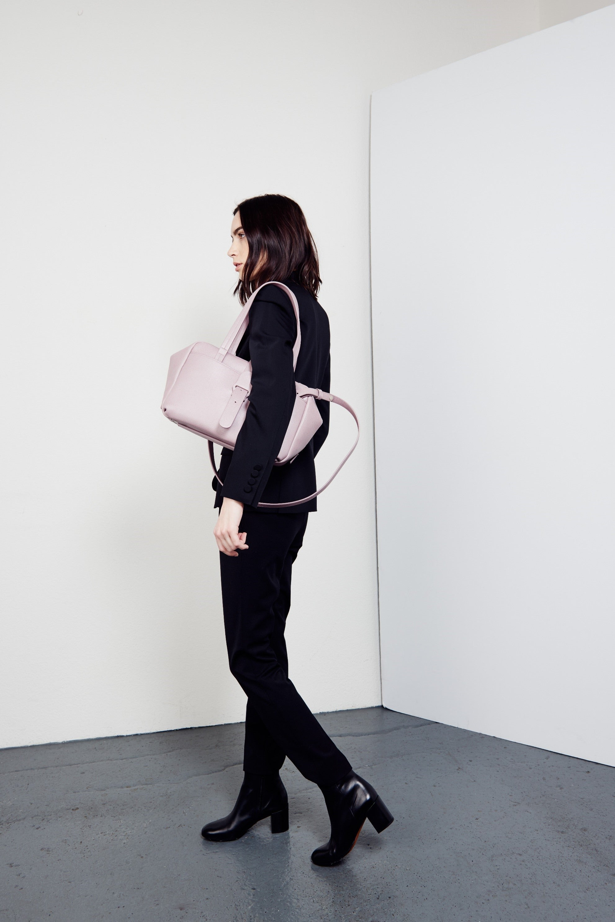 Woman with Purple Handbag