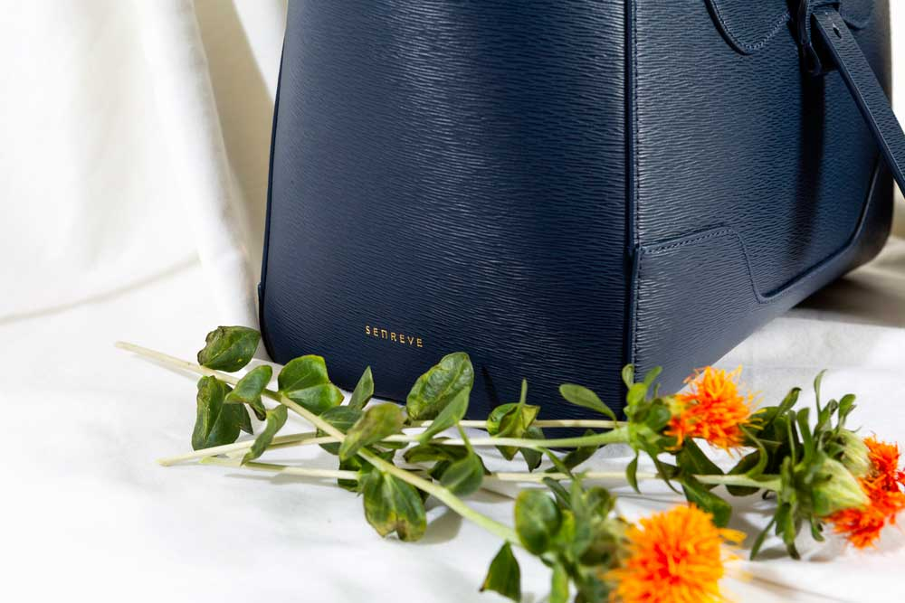 Navy Handbag with Flowers