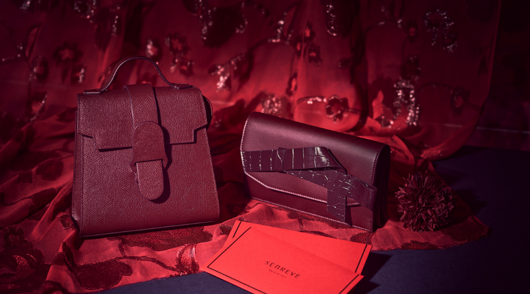 SENREVE Mini Alunna in Merlot and Continental Wallet in Currant