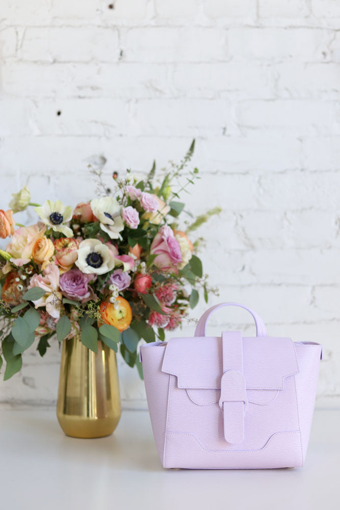 Purple Handbag with Flowers