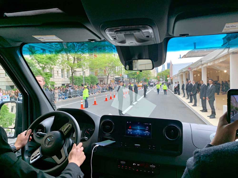 Shot from inside car approaching the Met Gala