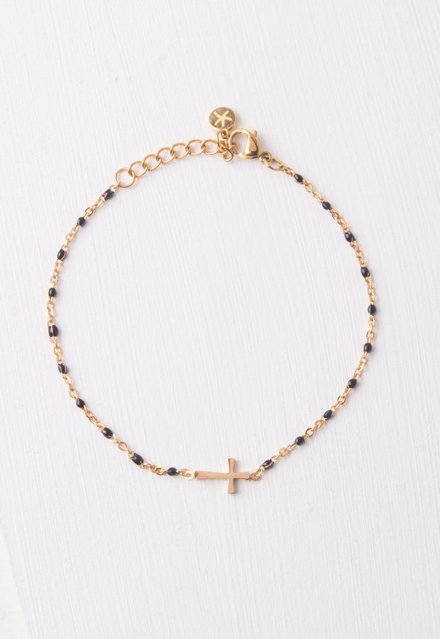 Hannah Black Cross Bracelet