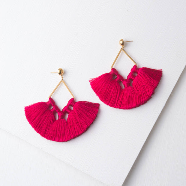 Siyona Fuchsia & Gold Tassel Earrings