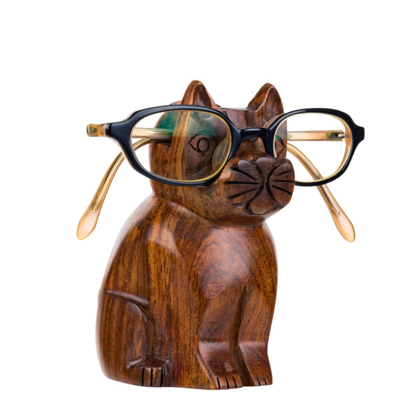 Wooden cat to hold glasses