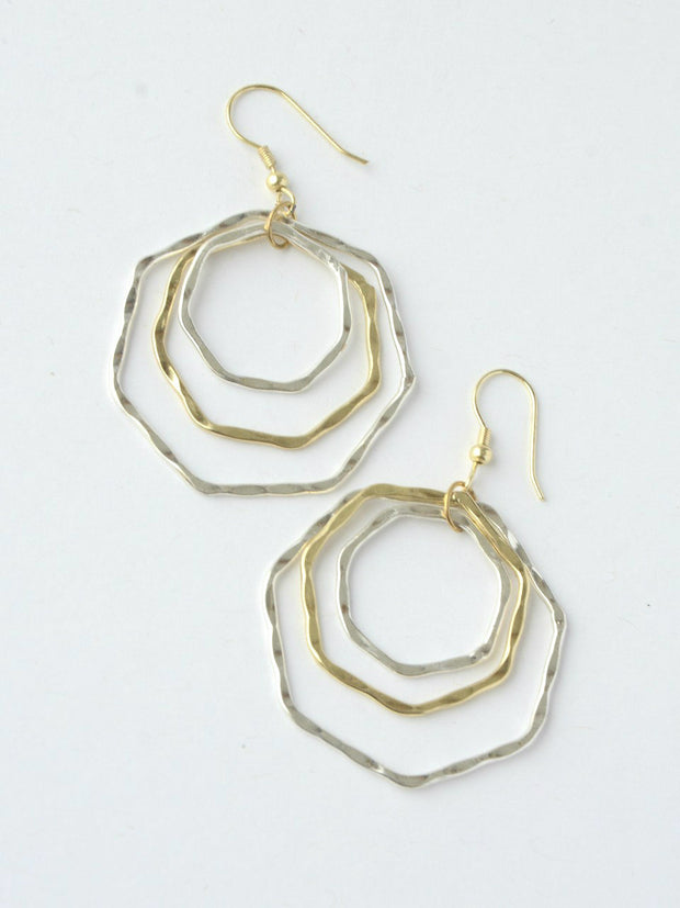 Layered Hexa Hoop Earrings-The Ethical Olive