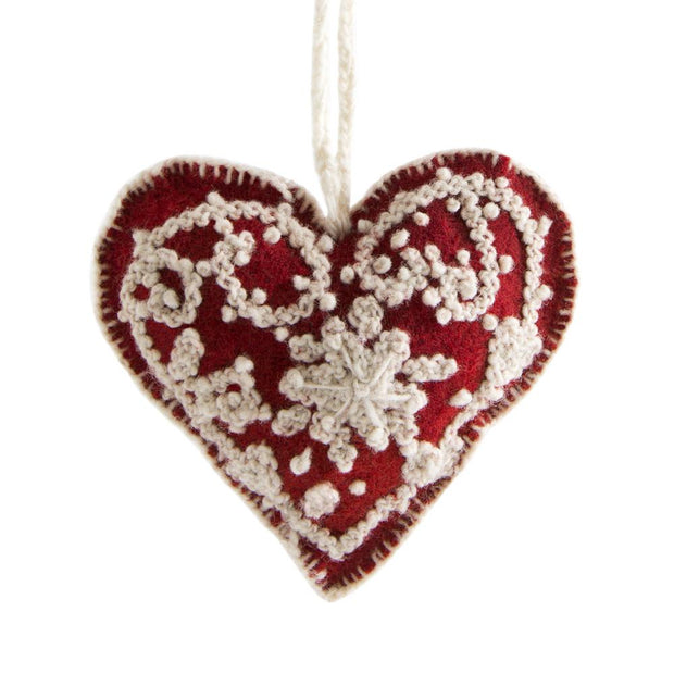 Embroidered Heart Ornament-The Ethical Olive