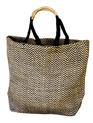 Black Herringbone Jute Shopper-The Ethical Olive