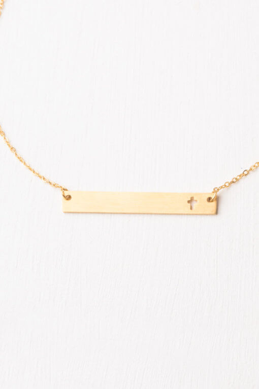 Layla Gold Cross Bar Necklace-The Ethical Olive