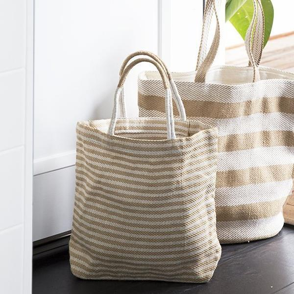 Thin Striped Shopper: Tan
