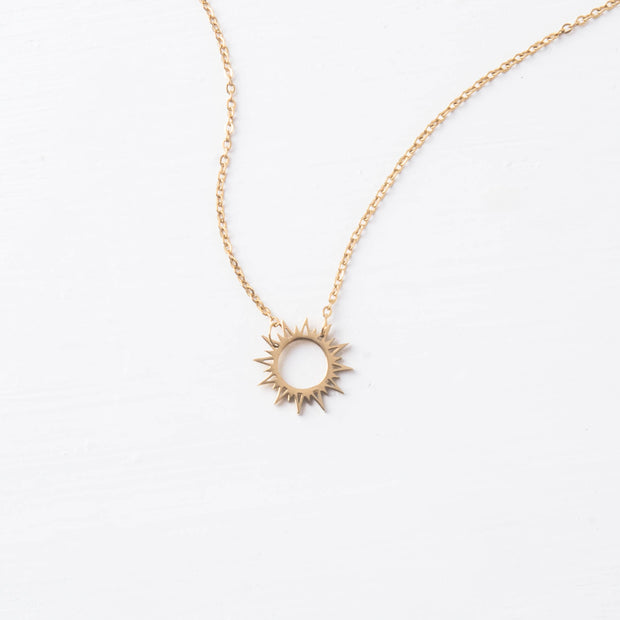 Gold Sun Pendant Necklace-The Ethical Olive