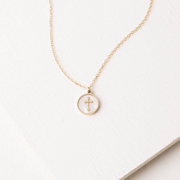 Joyce Mother of Pearl Cross Pendant Necklace