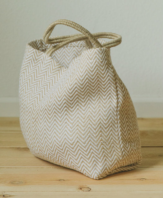 White Herringbone Jute Shopper-The Ethical Olive