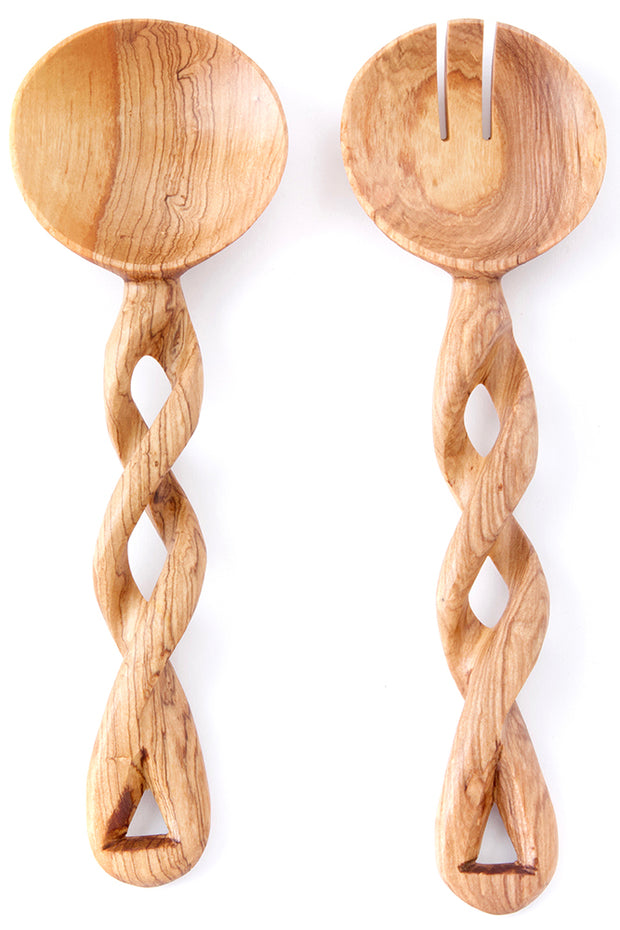 Twisted Olive Wood Salad Server Set