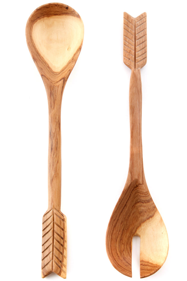 Olive Wood Archer Salad Servers-The Ethical Olive