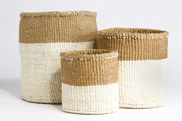 Dual Tone Sisal Baskets-The Ethical Olive