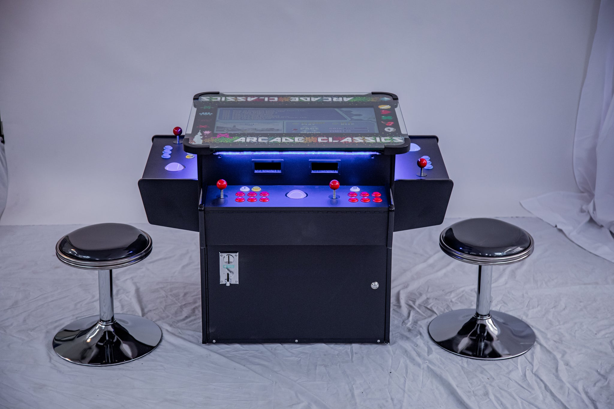 Full-sized, Three Sided, Cocktail Table Arcade Game With 3,016 Classic, Golden Age, and Midway Games