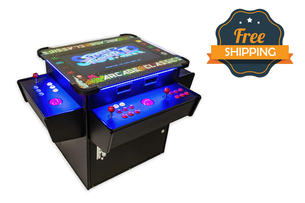 Full-sized, Three Sided, Cocktail Table Arcade Game With 3,016 Classic, Golden Age, Midway Games, and Trackball