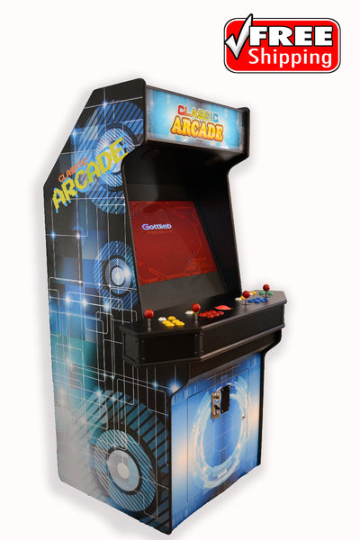 Full-Sized Four Player Upright Arcade Game With Trackball feat. 3,000 Games