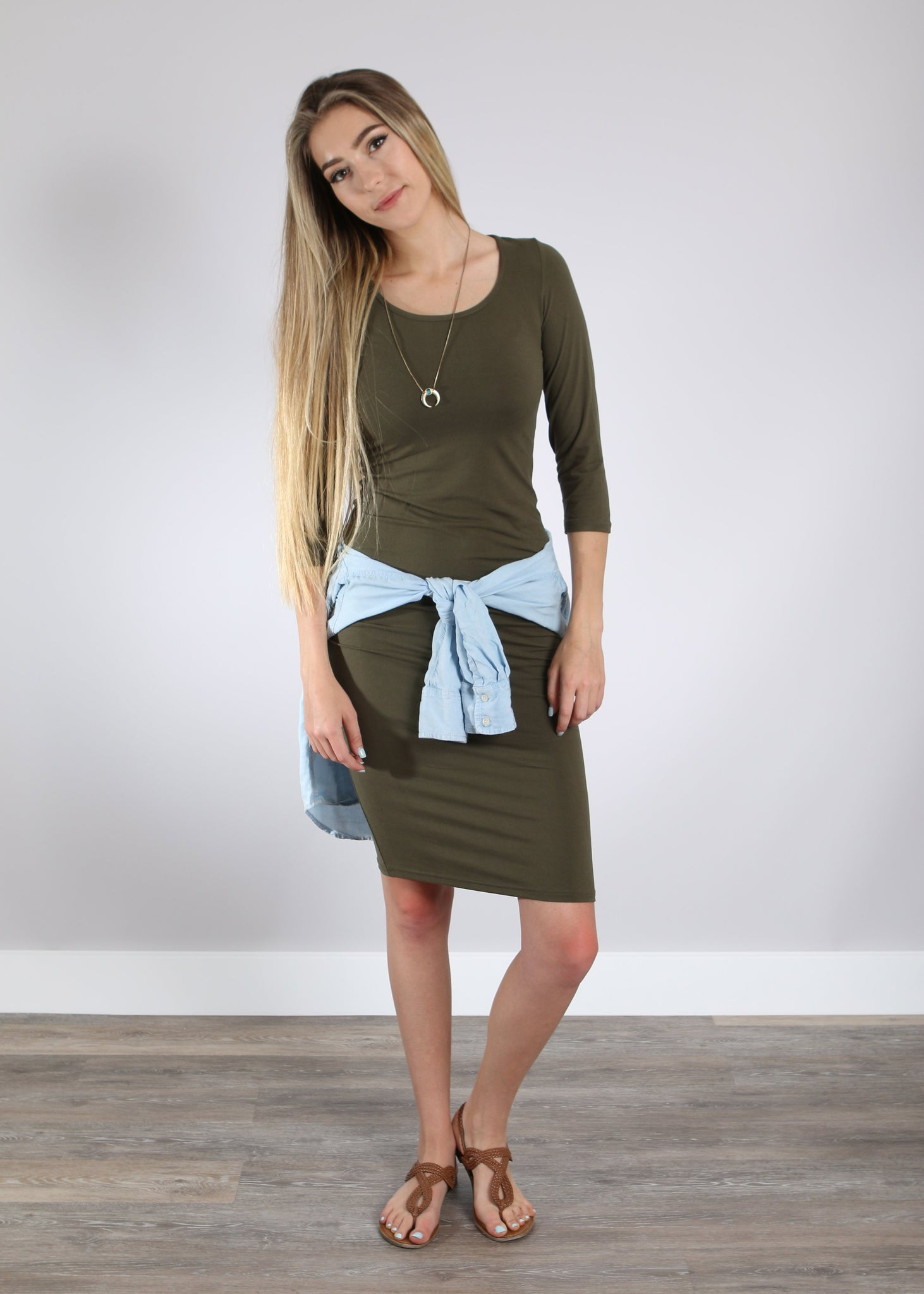 3/4 Sleeve Stretch Dresses (3 colors)