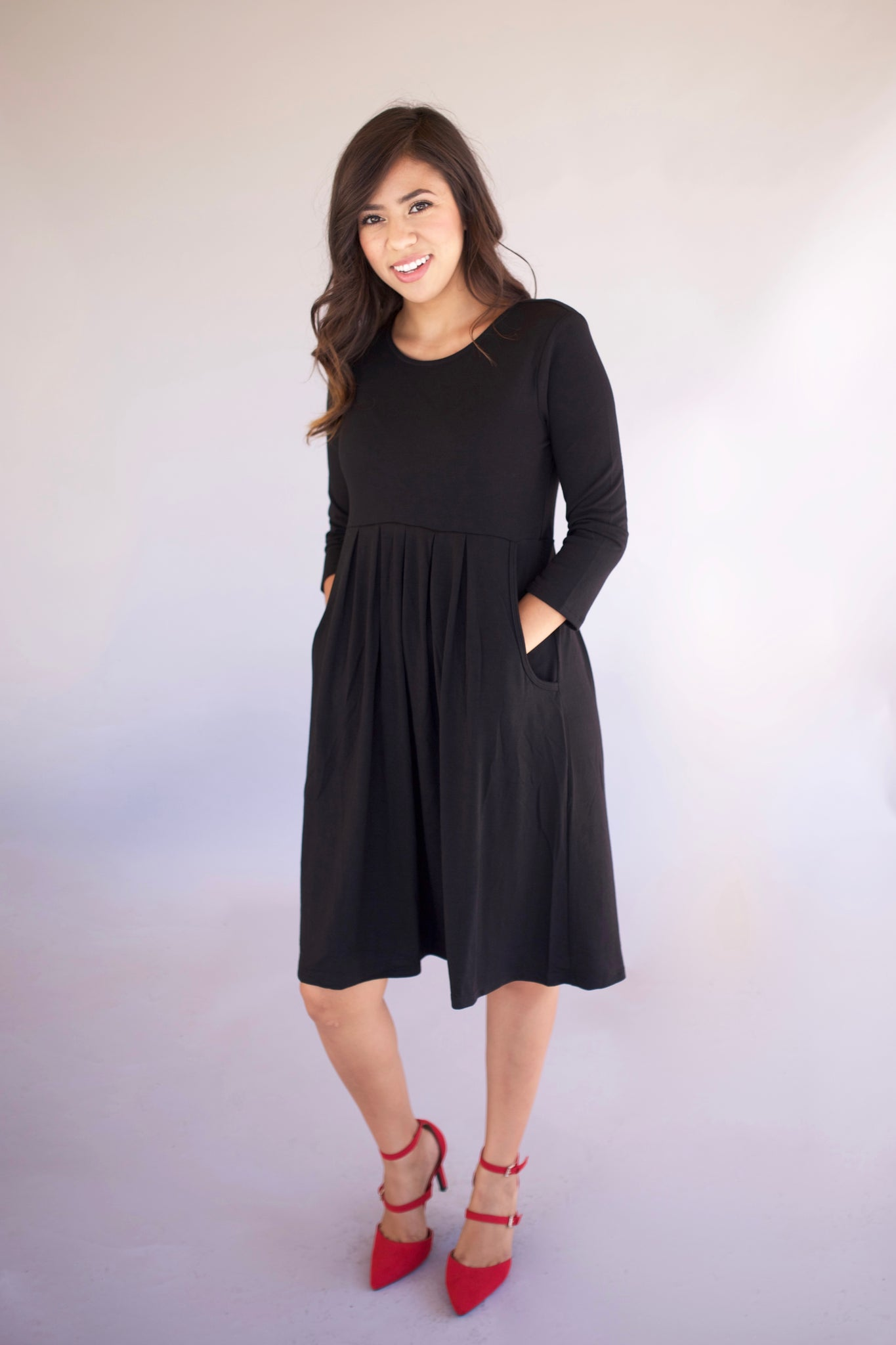 Pleated Dress with Pockets