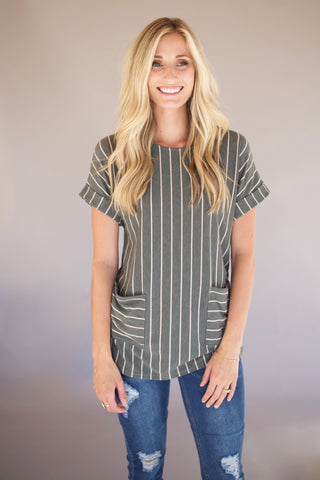 Stripped Top with Front Pockets