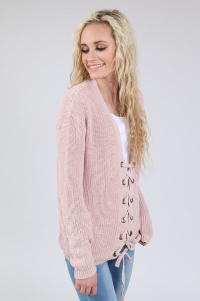 Lace-up Crochet Sweater