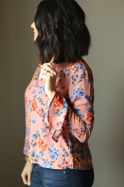 Floral Bell Sleeve Top (Mauve)