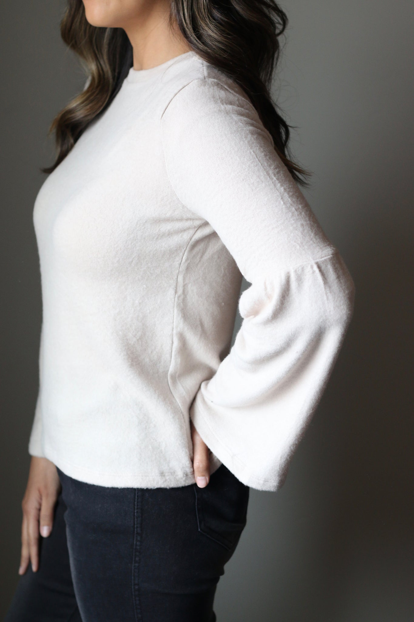 Bell Sleeve Knit Top (Oatmeal)