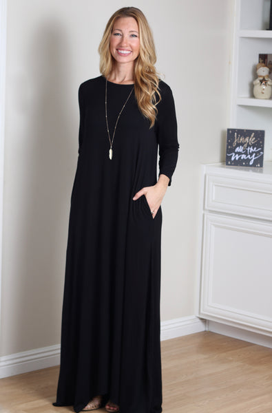 Flowy Maxi Dress (Black)