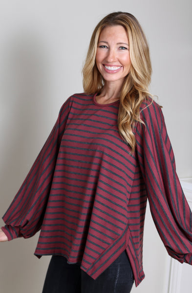 Burgundy Striped Blouse